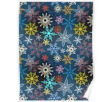 multi-colored snowflakes Poster