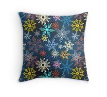 multi-colored snowflakes Throw Pillow