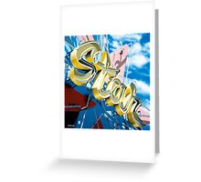 Hollywood Star Bowling Alley Neon Sign Greeting Card