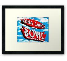 Kona Lanes Bowling Alley Retro Neon Sign Framed Print
