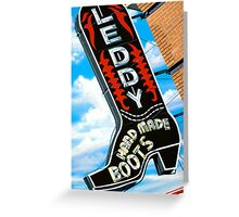 Leddy Boots Retro Neon Sign in Austin Texas Greeting Card
