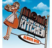 Mom's Kitchen Retro Neon Sign Photographic Print