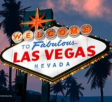 Fabulous Las Vegas Sign Night Version Retro Neon  by Anthony Ross