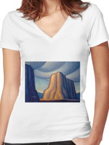 Desert Tower Women's Fitted V-Neck T-Shirt