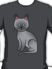 Blue Cartoon Tonkinese Cat T-Shirt