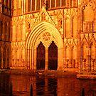 Minster Abbey portal in York by night by patjila