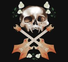 Skull-Guitar-White Rose by Lotacats