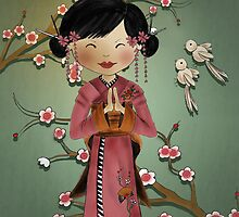 Cherry Blossom Geisha Girl by Kristy Spring-Brown