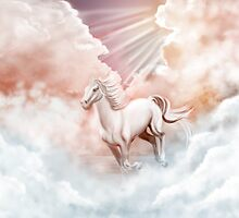 White Horse Running Trough The Clouds by ruxique