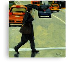Rainy Day Business - Figurative City Oil Painting Canvas Print