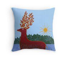 Deer in Sunlight Throw Pillow