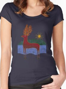 Deer in Sunlight Women's Fitted Scoop T-Shirt