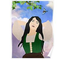 Girl and a bird Poster