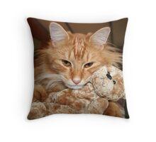 Orange Tabby Cat with His Stuffed Buddy Throw Pillow