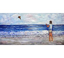 Girl With A Kite Photographic Print