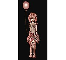 Cute Punk Cartoon of Girl Holding Purple Balloon Photographic Print