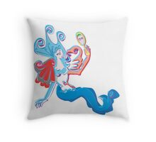 Mermaids Reflection Throw Pillow