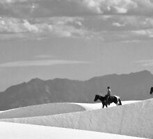 Horse and Rider at White Sands by TheBlindHog