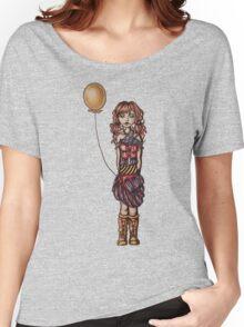 Cute Punk Cartoon of Girl Holding Yellow Balloon  Women's Relaxed Fit T-Shirt