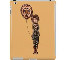 Cute Punk Cartoon of Girl Holding Lion Balloon  iPad Case/Skin
