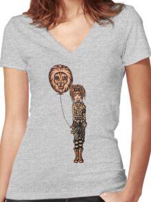 Cute Punk Cartoon of Girl Holding Lion Balloon  Women's Fitted V-Neck T-Shirt