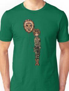 Cute Punk Cartoon of Girl Holding Lion Balloon  Unisex T-Shirt