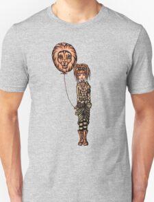 Cute Punk Cartoon of Girl Holding Lion Balloon  T-Shirt