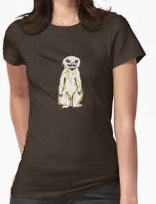 Meerkat with mustache Womens Fitted T-Shirt