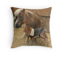 New born mini colt Throw Pillow