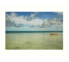Calm Water, Lone Boat Art Print