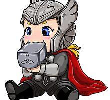 Chibi Thor Teething on Mjolnir by rageofthenerd