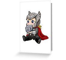 Chibi Thor Teething on Mjolnir Greeting Card