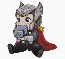 Chibi Thor Teething on Mjolnir Kids Clothes