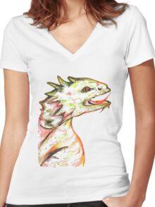 Little Green Dragon Women's Fitted V-Neck T-Shirt