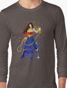 Superheroine Splatter Art Long Sleeve T-Shirt