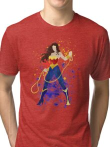 Superheroine Splatter Art Tri-blend T-Shirt