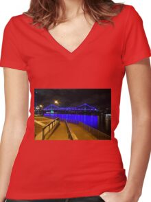 The Story Bridge sparkling Women's Fitted V-Neck T-Shirt
