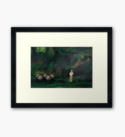 Oliver thought he was hopelessly lost in the forest, then suddenly he found his bearings. Framed Print