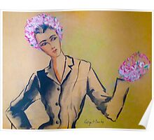 """""""Woman With Flowered Hat and Muff"""" Poster"""