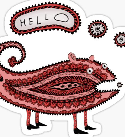 Paisley Chameleon says Hello Sticker