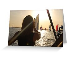 watching the boats Greeting Card