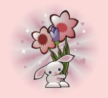 Cute Pink Bunny With Flowers by ruxique
