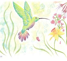 Watercolour Spring Time Hummingbird by CharlotteJade