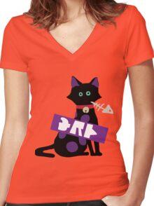 Splatoon SquidForce Splatfest Cat Tee Women's Fitted V-Neck T-Shirt