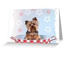 Bitzy, the Patriotic Yorkie Greeting Card