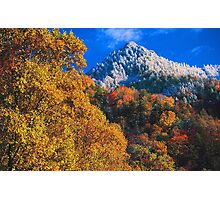 THE CHIMNEY TOPS,AUTUMN SNOW Photographic Print