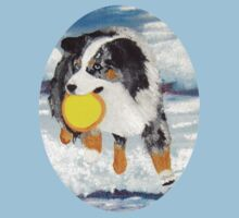 Frisbee Dog ~ Australian Shepherd ~ t-shirt & Sticker by Barbara Applegate