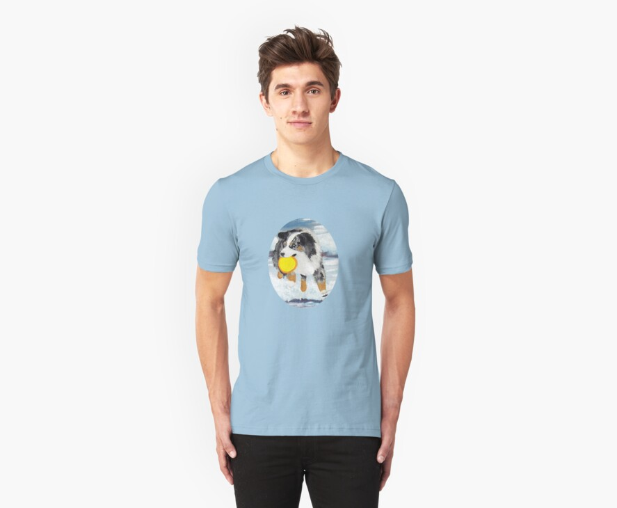 Frisbee Dog ~ Australian Shepherd ~ t-shirt & Sticker by Barbara Applegate