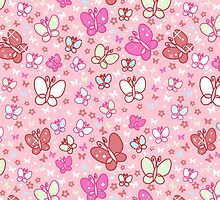 Pink Butterflies and Sparkles Pattern by SaradaBoru