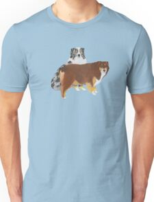 Aussie Pair ~ Australian Shepherd ~  sticker and T-shirt Unisex T-Shirt